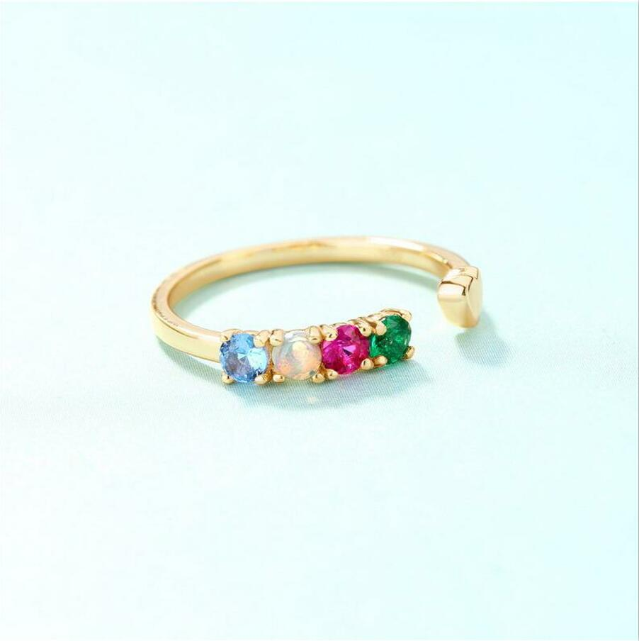 925 sterling silver natural opal stone ring women 39 s inlaid red and blue spinel ring J0109 in Rings from Jewelry amp Accessories