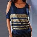 Camisa da forma T Das Mulheres 2016 Senhoras do Verão Fora Do Ombro Lantejoulas Em Torno Do Pescoço T-Shirt Blusa Feminina Casual Tops Soltos Plus Size