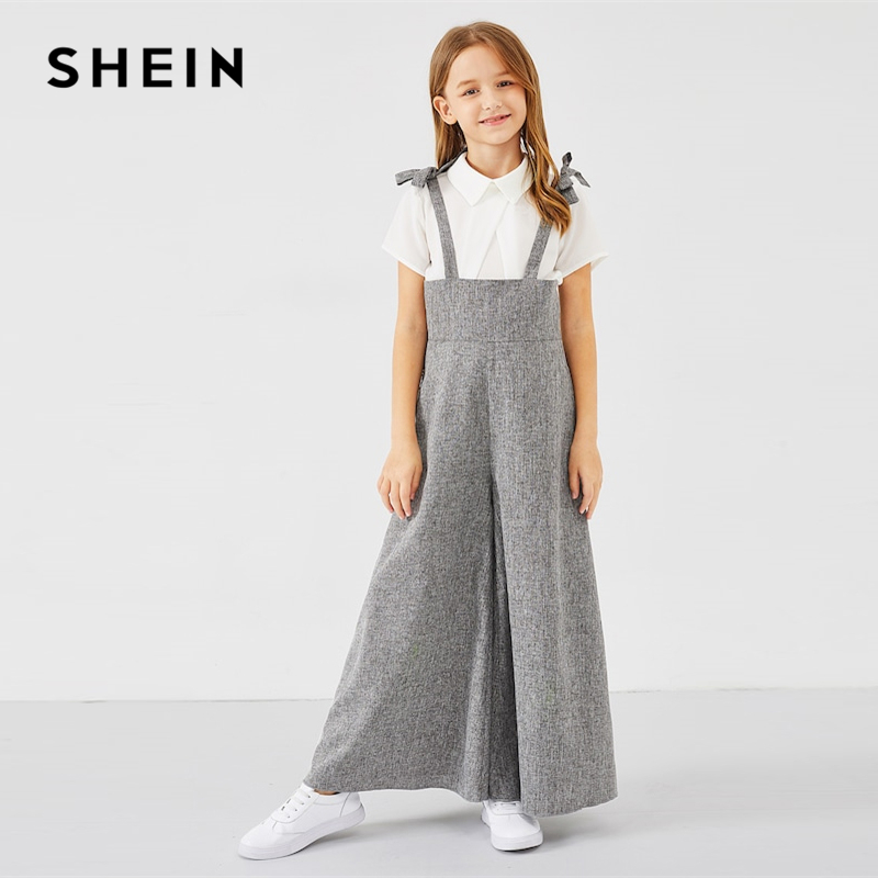 SHEIN Kiddie Grey Zipper Back Bow Strap Casual Girls Jumpsuit Mother Kids 2019 Spring Sleeveless High Waist Flare Leg Jumpsuits all over florals surplice wide leg jumpsuit