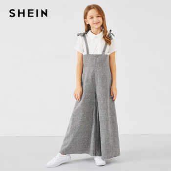 SHEIN Kiddie Grey Zipper Back Bow Strap Casual Girls Jumpsuit Mother Kids 2019 Spring Sleeveless High Waist Flare Leg Jumpsuits - DISCOUNT ITEM  40% OFF All Category