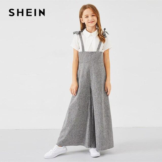 SHEIN Kiddie/серый повседневный комбинезон на молнии с бантом на спине для девочек, 2019 весенние комбинезоны без рукавов с высокой талией
