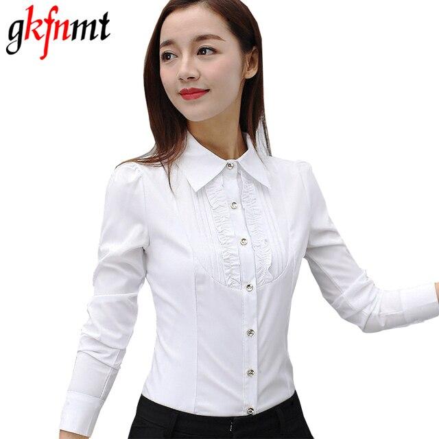 e0676e5e510 Gkfnmt Women Blouses Long Sleeve Causal Blouse Shirt Simple Design Ladies  Office OL White Shirt Summer 2017 Plus Size S-5XL