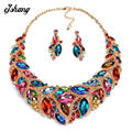 Jewelry Sets Crystal Necklace Earring Blue Red Gem Choker Bijoux Costume ZA Large Fashion Necklaces Pendants Women 2016 Jewel