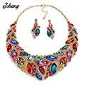Juegos de joyería crystal choker collar pendiente azul gema roja traje za grandes colgantes collares moda mujeres bijoux 2016 joya