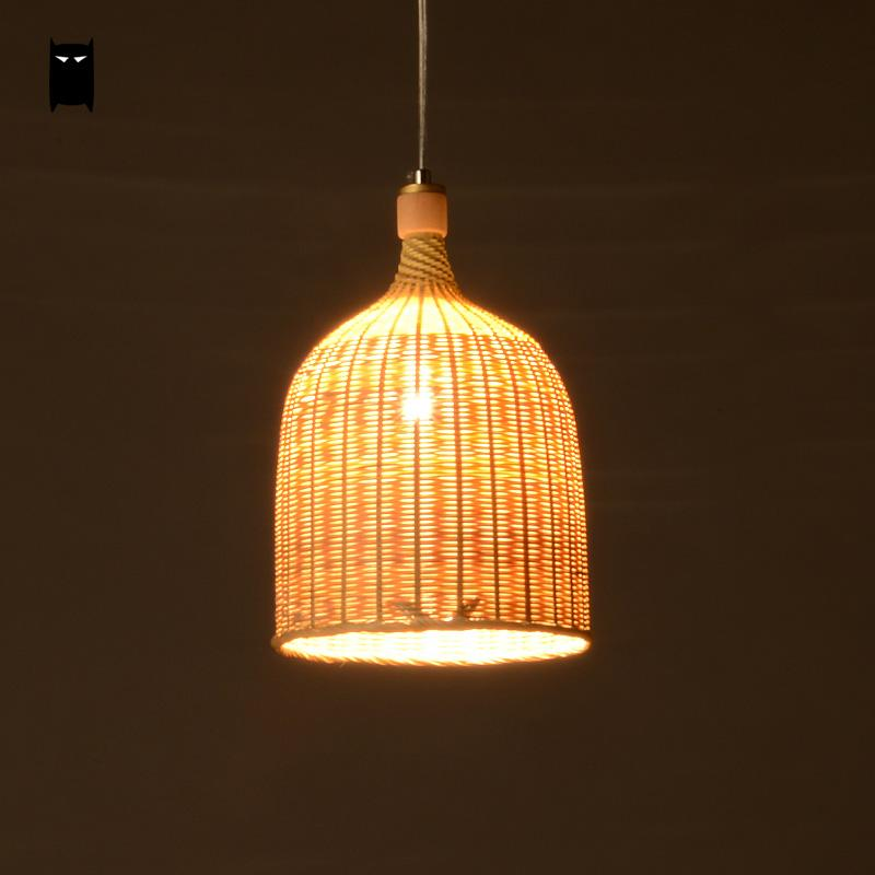 Bamboo Wicker Rattan Round Basket Bucket Pendant Light Fixture Rustic Asian Japan Hanging Lamp Luminaire Design for Dining Room new arrival modern chinese style bamboo wool lamps rustic bamboo pendant light 3015 free shipping