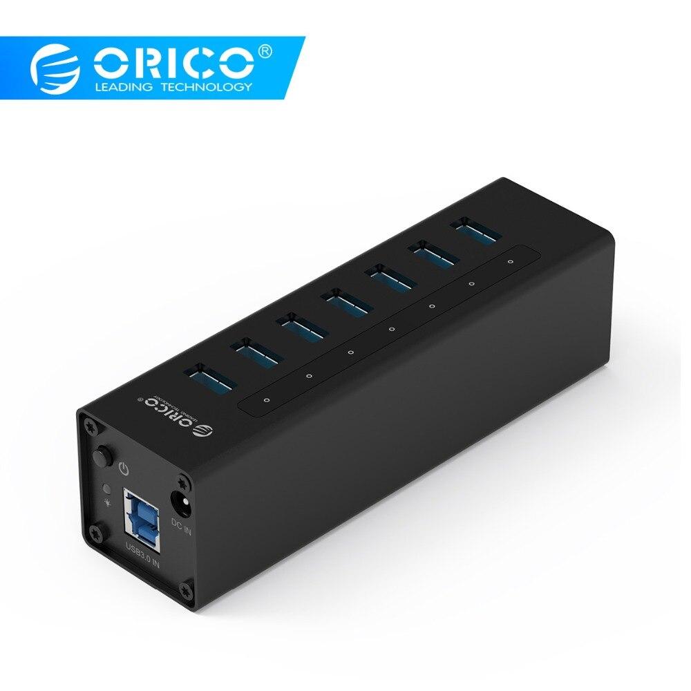 USB 3.0 HUB ORICO A3H7 7 Porta BC1.2 Carregamento Liga de Alumínio HUB com Adaptador De Energia Para macbook pro USB Divisor