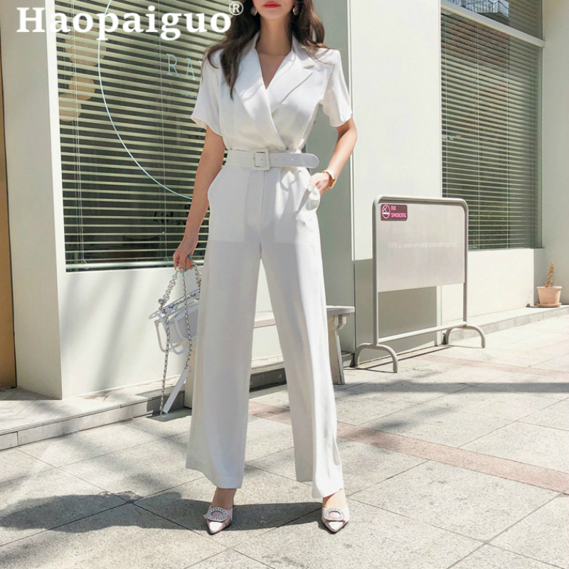2019 Summer Womens Office Wear Playsuit White Jumpsuit Short Sleeve VNeck Rompers Chiffon Wide Leg Pants Long Trousers with Belt
