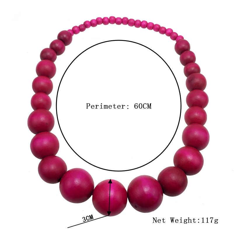 MANILAI, модное богемное разноцветное уникальное деревянное ожерелье с бусинами для женщин, массивное ожерелье, ювелирное изделие, аксессуары 2019