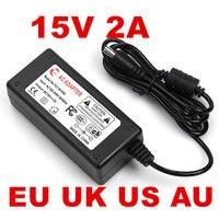 100 шт. 15V2A AC 100 В 240 В адаптер конвертер DC 15 В 2A 2000mA Питание 5,5 мм x 2,1 мм для светодио дный CCTV