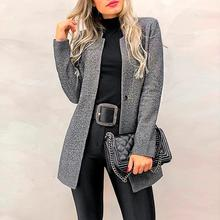 Winter Coat Gray Long Sleeve Womens Coats Office Lady Elegant Bandage Trench Woo