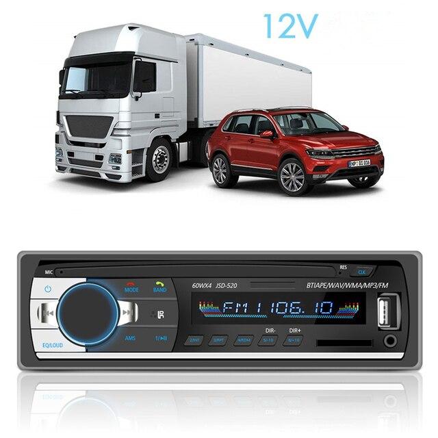 1 PC de coche Bluetooth receptor estéreo de radio 1 din coche Mp3 USB reproductor de sintonizador de FM Multimedia Auto subwoofer electrónica para coche