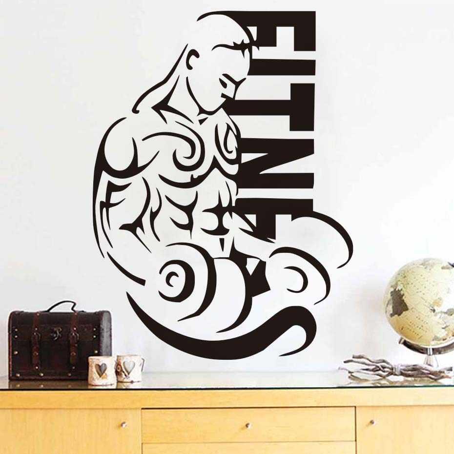 Kebugaran Stiker Dinding Berotot Pria Olahraga Kembali Olahraga Gym Binaraga Seni Stiker Dinding Pusat Kebugaran Stiker Dinding Dekorasi Kamar Tidur