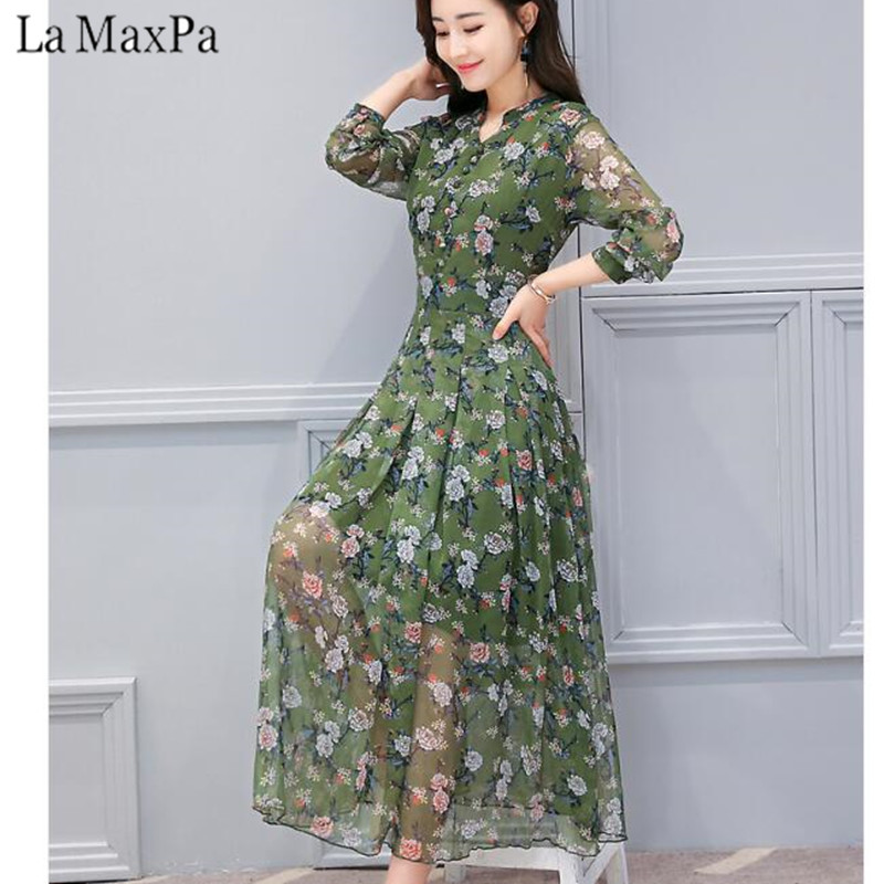2018 New Spring Floral Slim Fit Chiffon Dress with Full Regular Sleeve Female V Neck Mid Calf Flower Prints Bohemian Dresses