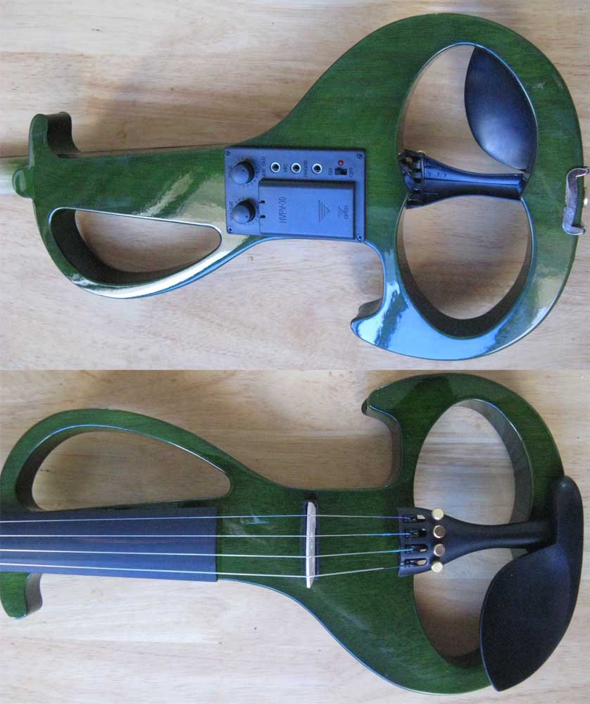 green 4/4 High quality  Electric violin 4 4 high quality 5 string electric violin yellow 2 pickup violin