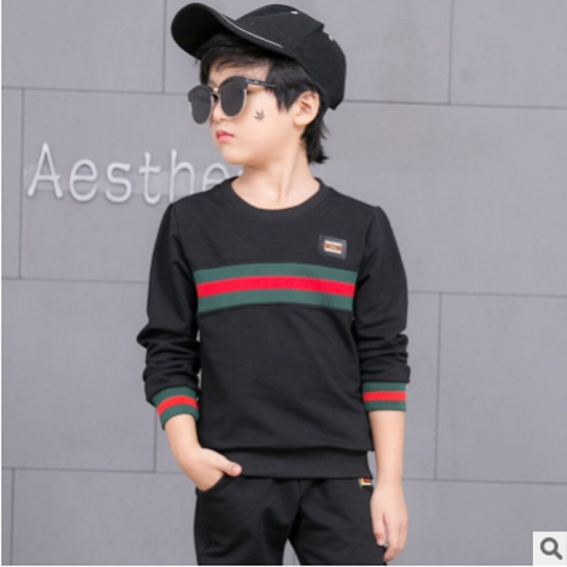 Boys Sports Clothing Set 2018 New Autumn and Spring Kids Clothes Sets Children Suits Sets 2 Patchwork Colors Size120-160 ly058 boys camouflage sports suits 2017 new autumn cotton boys long sleeve sportswear 2 pcs set children clothing 3 5 7 9 11 14 y 6