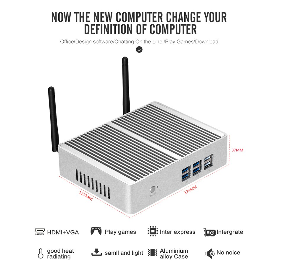 Fanless Mini PC for Windows with Dual Output Display and WiFi 7