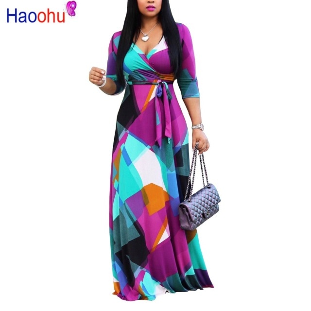 0216b9c587 HAOOHU Autumn Winter Long Dress Women V Neck half Sleeve Retro Geometric  Printing Vintage Dress 5XL Plus Size Wrap Dress