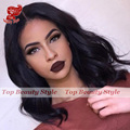 Hot Style Natural Wave Short Wigs Color #1b Body Wave Bob Wig For Black Women 10-16 Inch Synthetic Lace Front Wig In Stock