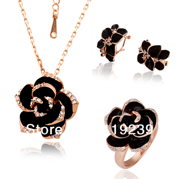 LS058 Fasion Rose Gold Color Items Statement Black Rose Flower