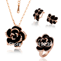 LS058 Fasion 18K Rose Gold Plated Items Statement Black Rose Flower Pendant Necklace Earring Ring Women