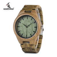 Bobobird M008 Mens Luxury Brand Wood Watches Full Wooden Quartz Watch Real Green Sandal Pockwood Handmade