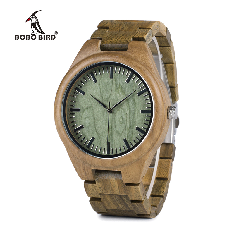 BOBO BIRD WG19 Men Luxury Brand Green Sandal Wood Watches Full Wooden Quartz Watch Handmade Wristwatches Carton Box OEM relogio bobo bird brand new wood sunglasses with wood box polarized for men and women beech wooden sun glasses cool oculos 2017