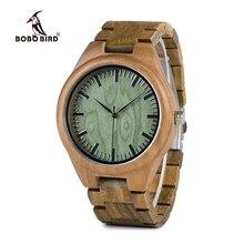 Бобо птица wg19 Для мужчин Элитный бренд зеленый сандалового дерева Часы Полный Деревянный кварцевые часы ручной работы Наручные часы коробки oem Relogio