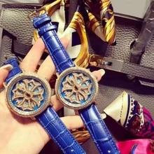 2016 Новая Мода Известный Бренд Синий Поворот Большой Циферблат Дизайн Мода Люкс Женщины Кварцевые Наручные Часы montre homme