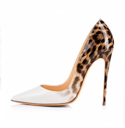 Gullick Women Pumps Leopard White Shoes Sexy Designer Heels Patent Leather Shoes High Heels Stiletto Evening Shoes Women