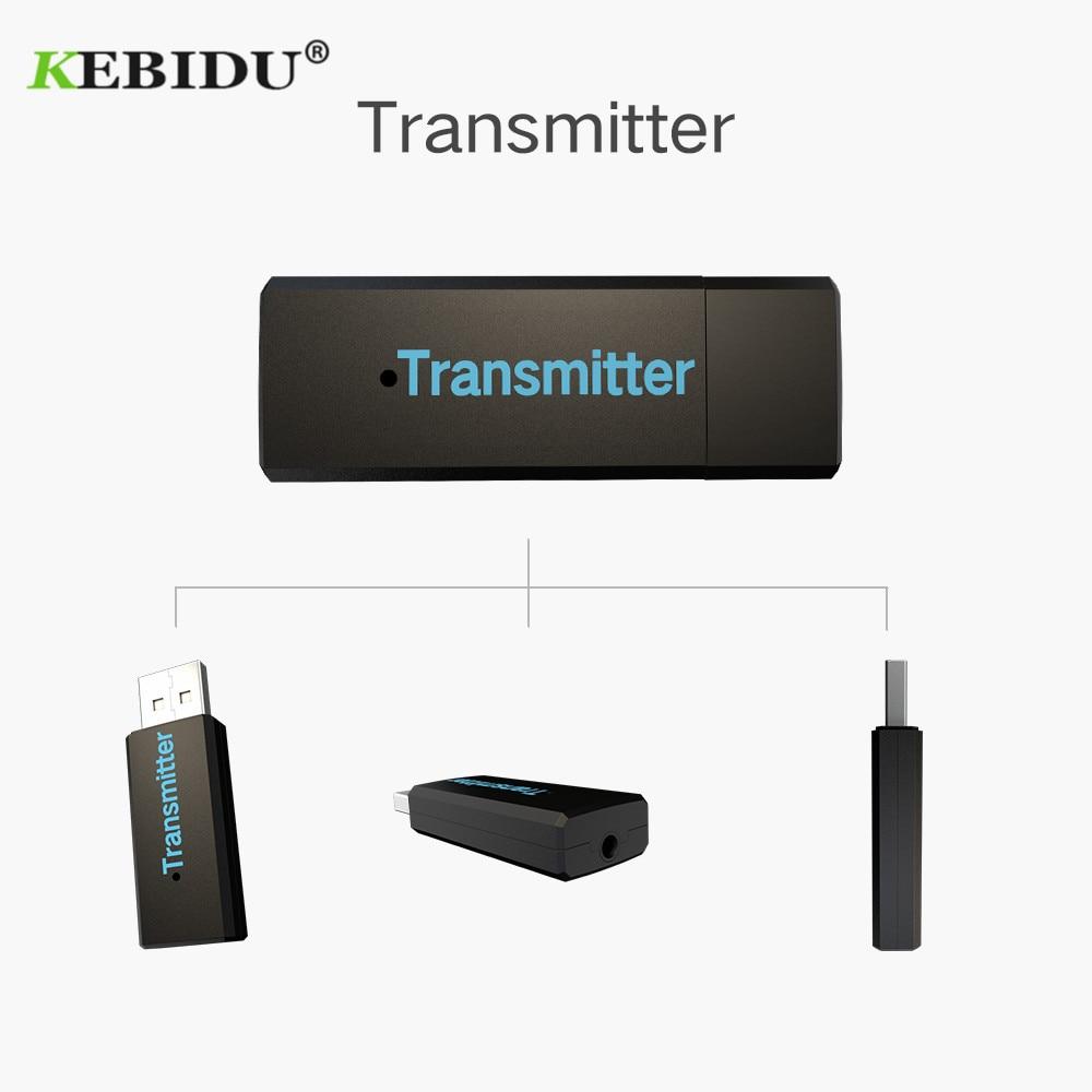Kebidu audio stereo 3.5mm audio transmission aux Wireless bluetooth transmitter usb bluetooth sender transmiter adapter for tv