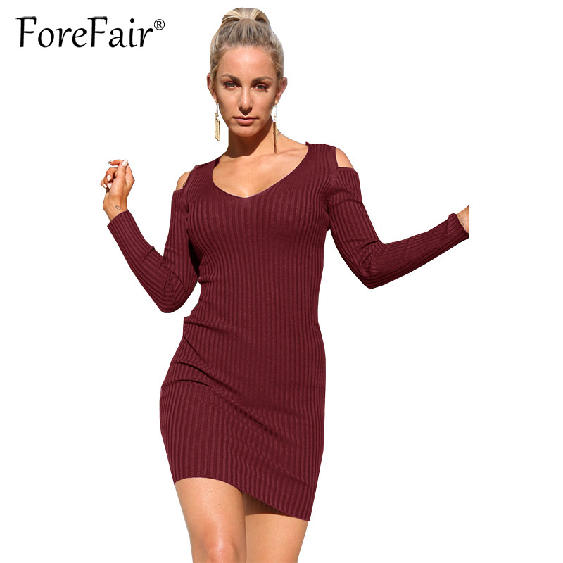 Forefair Plus Size Women High Elastic Knitted Dress 2017 Autumn Winter Long Sleeve Hollow Out Bodycon Dresses Female Vestido plus size double pockets knitted dress