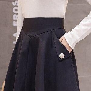 Image 5 - 2019 春のハイウエスト A ラインビッグスイングミディスカート韓国ポケットオフィスレディエレガントな女性スカートペチコートファムファルダ