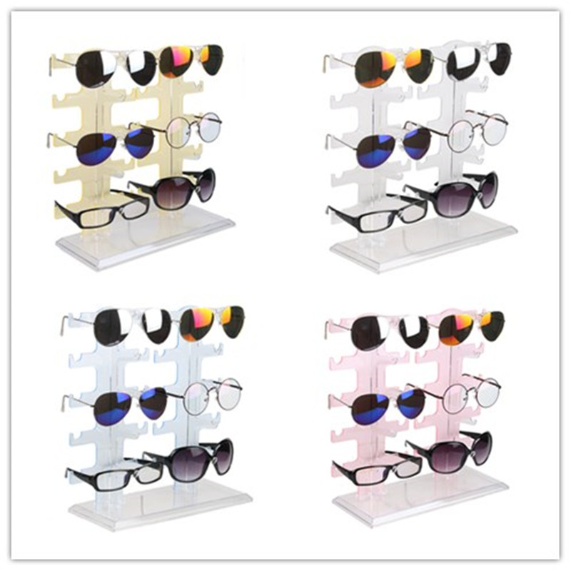 Jewelry Organizer Stand 10Pair Plastic Sunglasses Eyeglass Glasses Frame Rack Display Organizer Show Holder Rack 30*13*32cm acrylic sunglass glass rack optical display frame glasses stand holder organizer clear