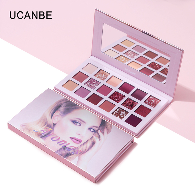 Ucanbe Nude Palette Aromas 18 Colors Matte Glitter Eyeshadow Natural Radiant Shine Eye Shadow Pigment Long Lasting Rose Makeup 2