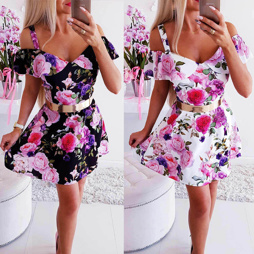 Summer Women Dress New Sexy Off Shoulder V-Neck Floral Print Slim A-Line Dress Female Vintage Mini Party Dress Vestidos Sundress