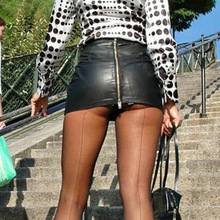 Sexy Zipper Micro Mini Skirt Faux Leather for Crossdressers & Shemales
