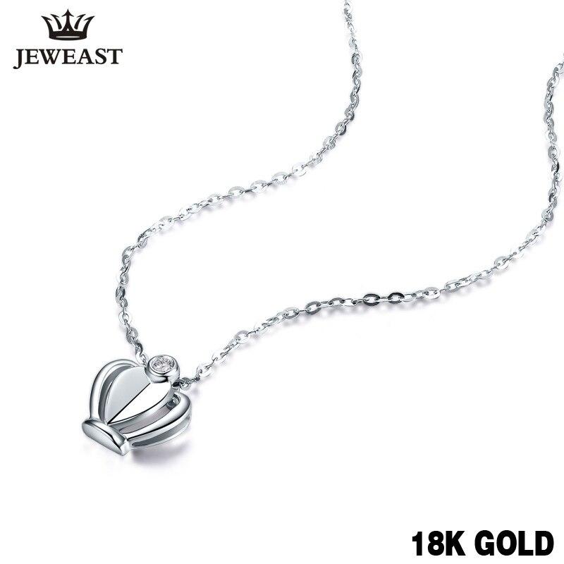 18 k 골드 다이아몬드 목걸이 펜던트 크라운 여성 미스 소녀 선물 체인 매력 할인 저렴한 천연 정품 파티 사용자 정의-에서펜던트부터 쥬얼리 및 액세서리 의  그룹 1