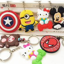 Key chain ornament cartoon PVC soft rubber pokemon silicone key chain Captain America keychains toy anime yellow people