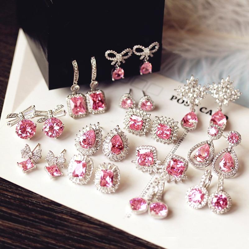 d58ca0d7870d Moda Linda gota de agua Rosa cuadrado cristal pendientes flor corazón  mariposa Zirconia cúbica mujer fiesta bodas cumpleaños regalo -  a.martinac.me