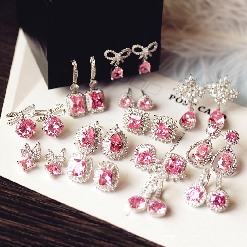 Moda bonito gota de água rosa quadrado brincos de cristal flor coração borboleta zircônia cúbico feminino festa casamento presente de aniversário