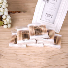 100pcs Natrual Wooden Double Head Cotton Swab Makeup Cotton Buds Tip Medical Wood Sticks Nose Ears Cleaning Health Care Tool J75(China)