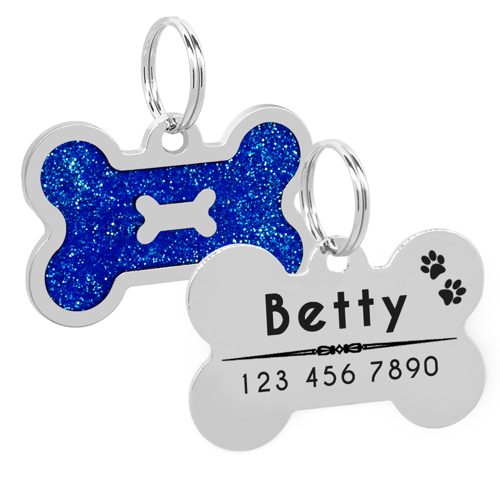 Glitter Personalized Dog ID Tag Customized Bone Shape Name Tag Plate Pet Dog Accessories Collar Decoration Pink Red 2
