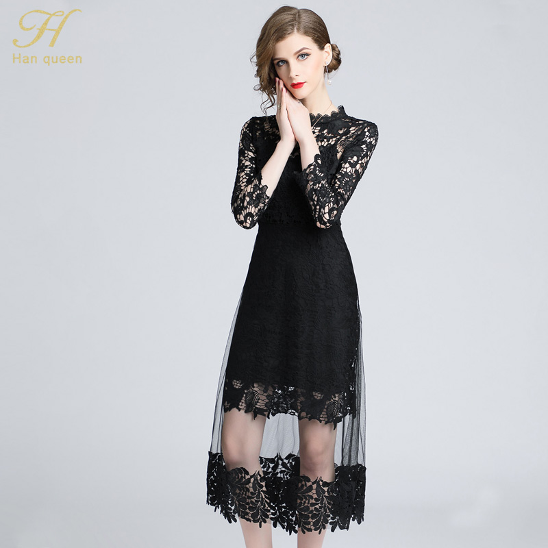 46324fef7f21e Aliexpress.com : Buy H Han Queen Autumn Mesh Patchwork Lace Dress Women O  neck Work Casual Party Slim Sexy Black Long Dresses Vintage Vestidos from  Reliable ...