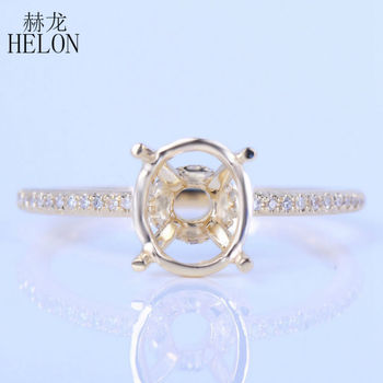 Diamant Im Ovalschliff | HELON 7X9mm Oval Cut Solid 14K (AU585) Gelb Gold Echte Natürliche Diamanten Engagemement Hochzeit Semi Mount Ring Elegante Schmuck