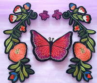 1Set 5pcs New Colorful Embroidery Flower Butterfly Bee Suit Cloth Patch Clothes Patch Women S Decals