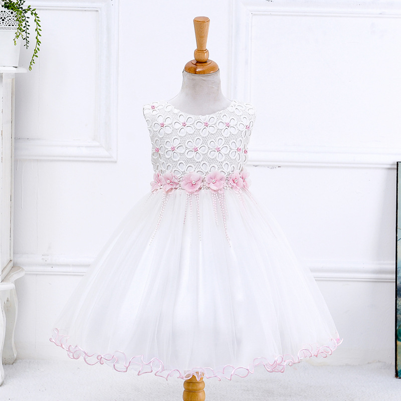 Retail 2018 New Arrival Summer Children Dress Flowers Girl Dress Wedding Dress White Evening Dress Party