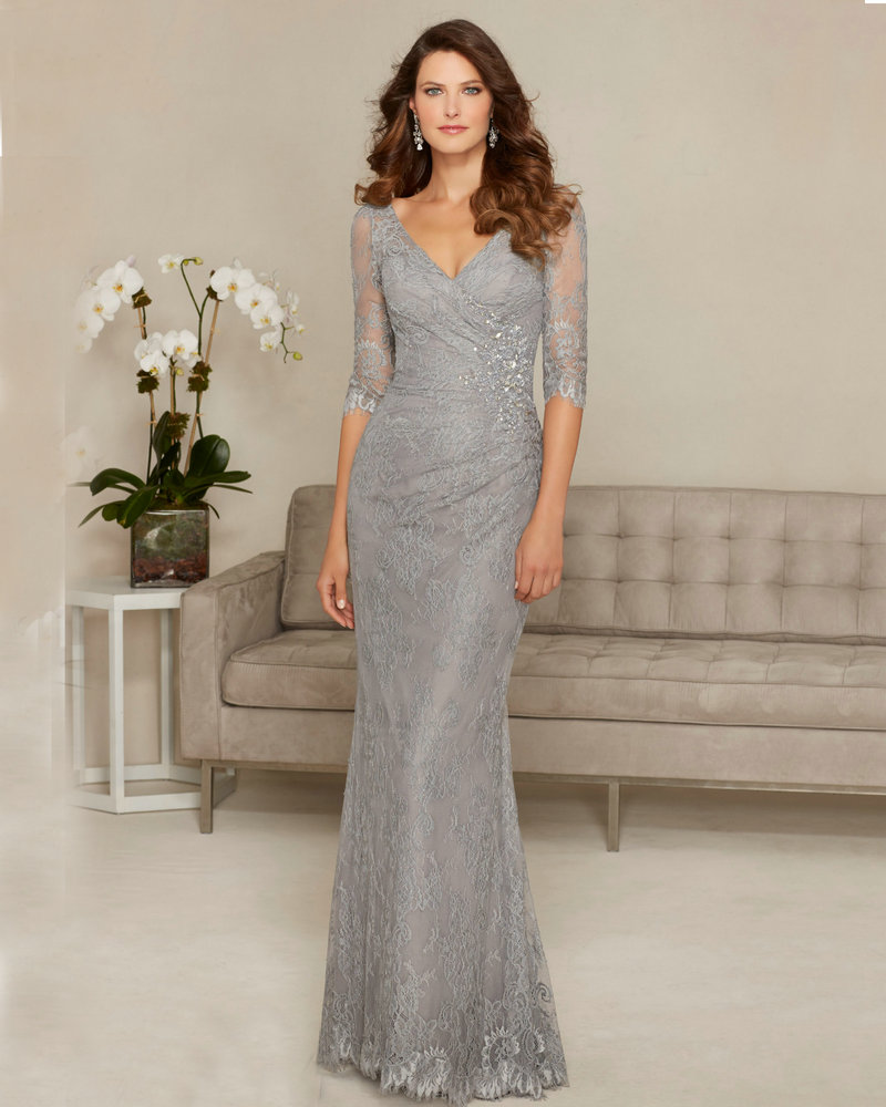 Style 71313 Silver Mother Of The Bride Dresses With Sleeves Mermaid Grandmother Wedding Vneck Lace Dress: Silver Mermaid Style Wedding Dresses At Websimilar.org
