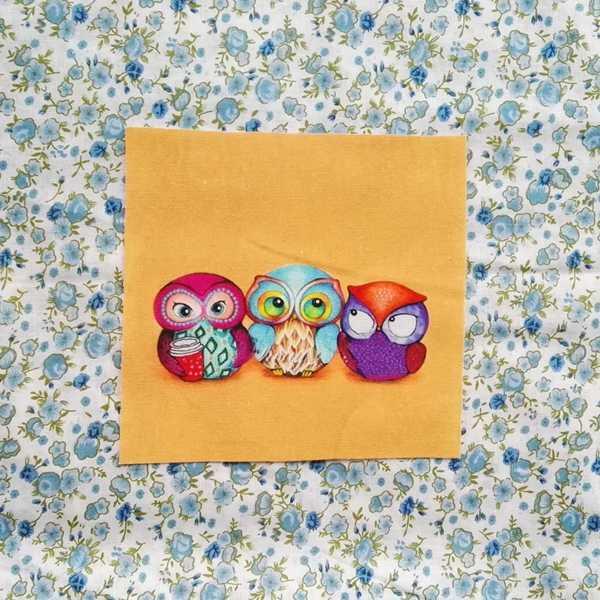 Tela de búho tela impresa digital 20*20 cm/15*20 cm de algodón grueso y lino hecho a mano diy patchwork decoración patchwork
