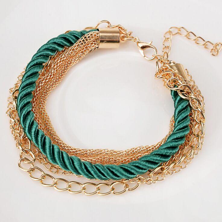 Handmade Chain Link font b Bracelets b font For Women Charm Bangle candy color font b