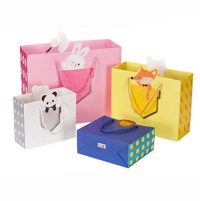 20 Pack Pink Cute Cartoon Gift Paper Packaging Bag For Baby Kids Birthday Party Kingarden